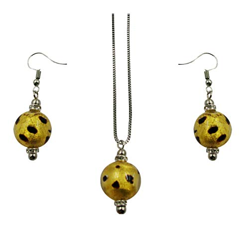 Original Murano Glass Bead Set with Stainless Steel Necklace Made in Italy by Priann Gioielli AMBRA