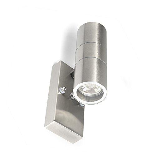 QAZQA Modern Außen Wandleuchte Stahl/Silber/nickel matt IP44 mit Hell-Dunkel-Sensor - Duo/Außenbeleuchtung/Up & Down Edelstahl Rund LED geeignet GU10 Max. 2 x 35 Watt