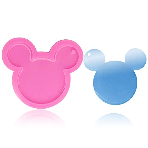 1 Pcs Mickey Mouse Head Shape Pendant Keychain Silicone Mold with Hole DIY Pudding Jelly Shots Cupcake Cake Topper Decoration Desserts Crystal Ice Cream Candy Fondant Mold Gum Paste