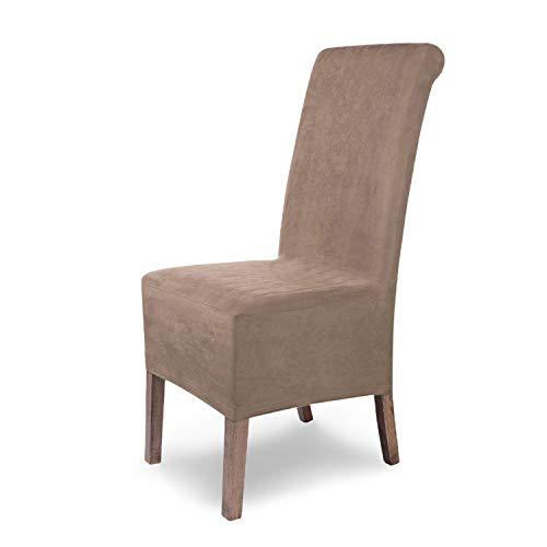 SCHEFFLER-Home Stretch Stuhlhusse Leon | 6er Set elastische Stuhlabdeckungen aus Wildleder | Stuhlhussen Schwingstühle | Spannbezug mit Gummiband | Elegante Stuhlbezüge