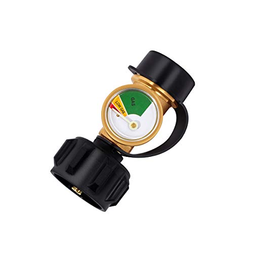 GASLAND Propane Tank Gauge, ACME/QCC1/Type1 Propane Adapter Fittings with Gauge, LP Gas Leak Detector Gauge, Propane Gauge Grill Valve Connector for Propane Cylinder, RV Camper, BBQ Gas Grill, Heater