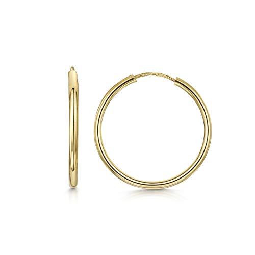 Amberta Aros en Oro Amarillo 9Kt - Pendientes de Aro Clásicos para Mujer - Diámetro: 20 mm