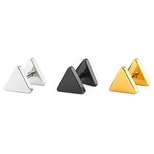 Daesar 3Pares Triángulo 8MM Pendientes Acero Inoxidable Mujer Hombre Negro Oro Plata