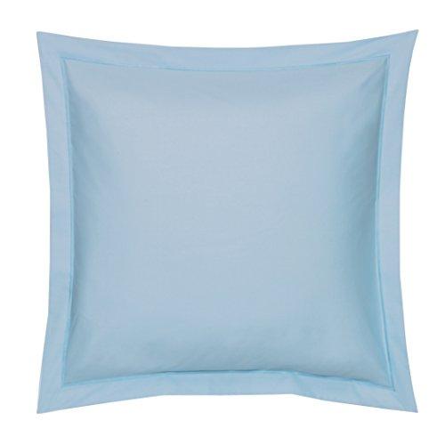 Blanc des Vosges Uni 57 Fils Taie, Coton, Bleu Ciel, 65x65 cm