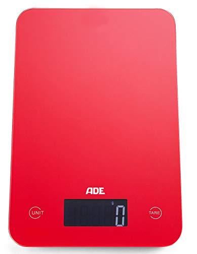 ADE Báscula de cocina digital KE927 Slim. 12mm de altura. Display LCD. Pesa hasta 5Kg.Tara. Sensor al tácto. Támbien para líquidos.Incluye baterias. Color Rojo