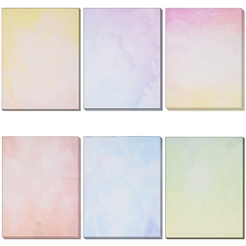 120 Pack Water Color Stationery Paper Set 6 Watercolor Designs Double Sided 8.5'X 11' Decorative Letter Sheets for Writing Calligraphy, Printing, Scrapbook Crafts, Letterhead, Certificate & Invitation