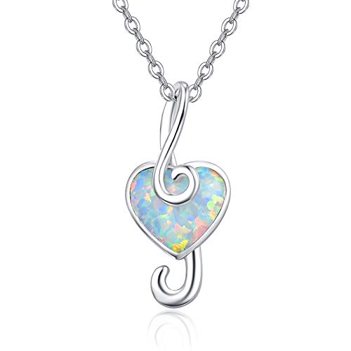 Melody Pendant Necklace Musical Note Necklace 925 Sterling Silver White Opal Gem Jewelry Chain Amulet Multicolored Sounds For Beautiful Charming Women Music Heaven Gift for daughter girlfriend wife