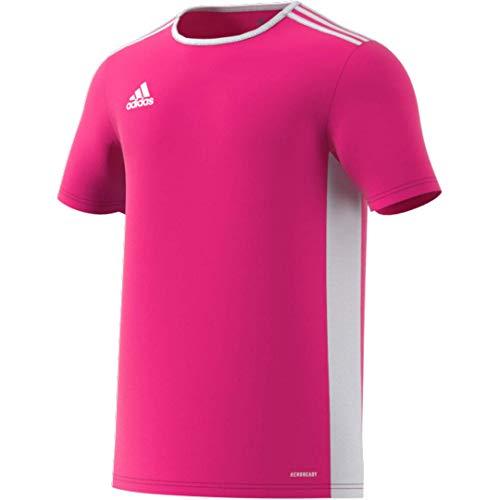 adidas Men's Entrada 18 AEROREADY Primegreen Regular Fit Soccer Short Sleeve Jersey, Shock Pink/White, Large