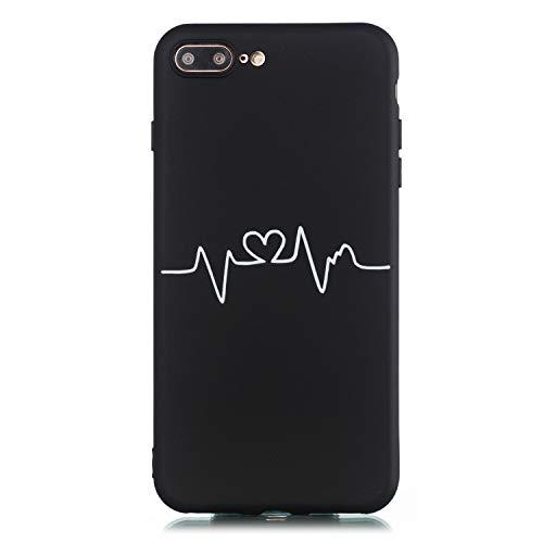Ulife Mall Funda para iPhone 7 Plus | iPhone 8 Plus Cárcasa de Silicona Suave con Patrón de Dibujos Blanco y Negro Ultrafina Antigolpes Mate TPU Goma Bumper Resistente Cover Protección, Curva corazón