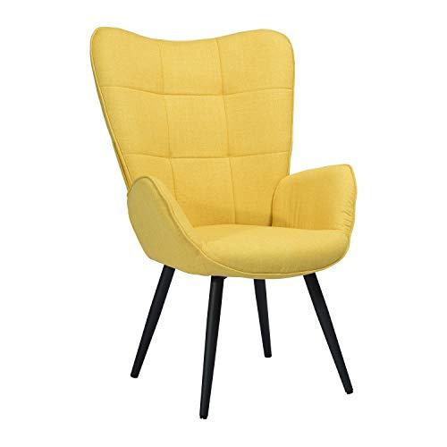 Muele Cosy - Sillón de salón de 1 Plaza con un Revestimiento de Tela Amarillo, reposabrazos Acolchados y Patas de Madera Maciza de Metal, 68 x 74 x 106 cm