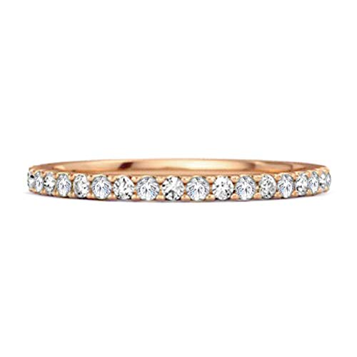 Shine Jewel Multi Elija su Piedra Preciosa 0.18 CTS Banda de Media eternidad Anillo Apilable De Plata De Ley 925 Chapado En Oro Rosa (15, cz Blanca)