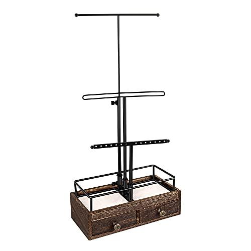 Organizador de joyería Colgante con 2 cajones, Pulsera de Mesa de 3...