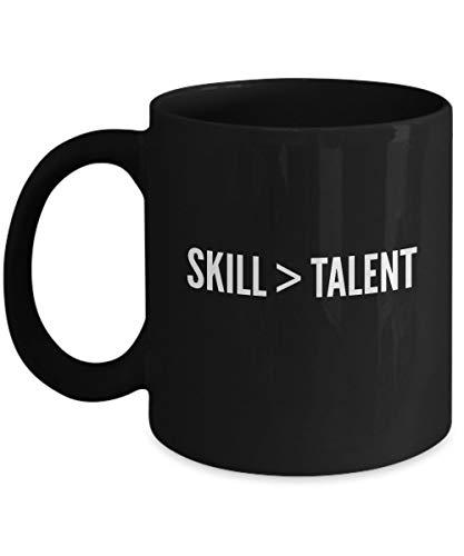 N\A Citas Inspiradoras invaluables   afirmaciones positivas diarias para Hombres, Mujeres, niños Tazas de café Negro   la Habilidad es Mayor Que el Talento