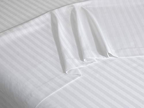 Sibiles - Sábana Encimera Cama de Satén Cutí Rayas Blancas Hotel Percal 200 Hilos PoliAlgodón (Cama 105)
