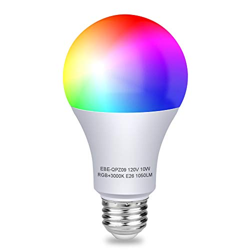 Aigital WiFi Smart Light Bulb,RGB LED Color Changing Dimmable Smartphone App Controlled Daylight & Night Light,Color Bulbs Compatible with Alexa and Google Assistant,10W Home Lighting,No Hub Required
