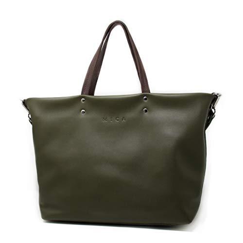 MICA Gouges Bolso Tipo Tote para Mujer Bolso Shopper de Piel 44 x 30 x 15(cm) Bolso Grande de hombro Cuero Natural… (Verde)