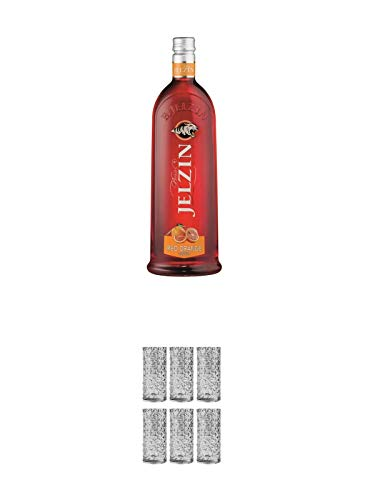 Boris Jelzin Blutorange Vodka 0,7 Liter + 9 Mile Highball Vodka Glas 6 Stück