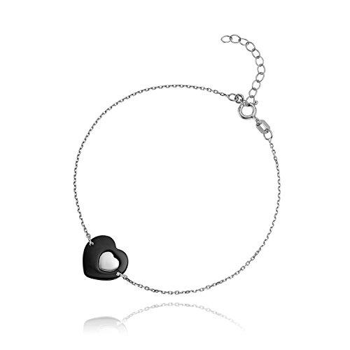 LillyMarie Pulsera de mujer de plata 925 con colgante de corazón negro, longitud ajustable, bolsa de satén, regalo para mamá