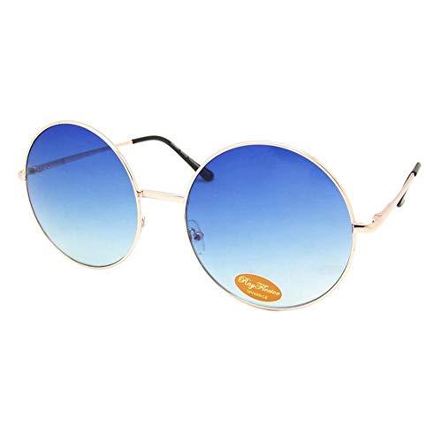 Chic-Net Hochwertige Sonnenbrille rund Glamour golden XL Oversize John Lennon getönt 400UV Vintage blau