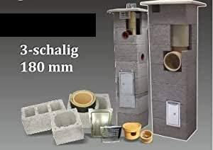 SUCCSALE-NICPONT Keramikschornstein Bausatz 3-Schalig Massiv DN180 9,00m