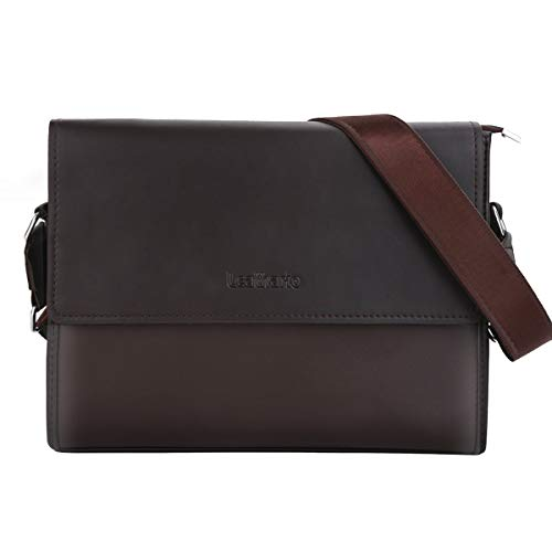 Leathario Messenger Bag Shultertasche PU-Leder 13 Zoll Damen & Herren Laptoptasche 33,5 * 6 * 24,5 500g Schwarz (Brown 1)