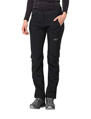 Jack Wolfskin Women's Zenon Softshell Windproof Softshell Hiking Pants, Black, Size36(US-W-28/31)