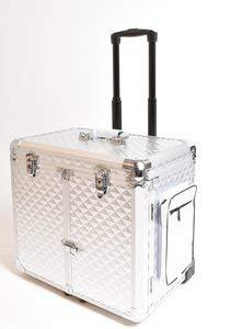 CS-KOSMETIKVERTRIEB Fußpflege-Koffer mit Stauraum & Steckdosen-Durchführung - Kosmetik-Koffer mit Rollen & Fixiergurt - Modell Glamour Silber Metallic