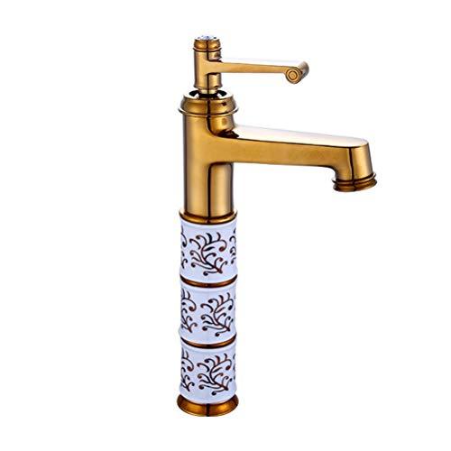 TOPBATHY 1 grifo de cobre para lavabo, grifo de agua fría y caliente.
