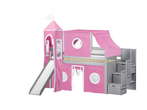 JACKPOT! Princess Low Loft Stairway Bed with Slide Pink & White Tent and Tower, Loft Bed, Twin, Gray