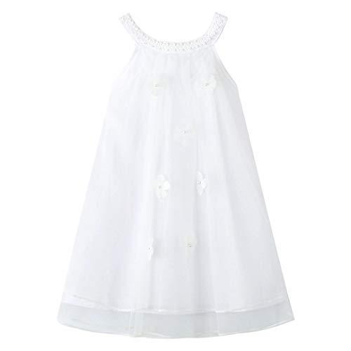 HILEELANG Girl Summer Casual Dress Cotton Tulle Halter Neck Sleeveless Tank Outfit Beach Sundress White 5T
