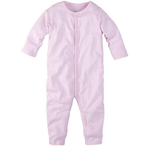 Schlafanzug, einteilig, langarm, rosa weiss geringelt, Gr. 68/74
