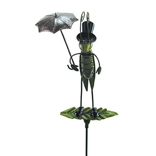 Gartenstecker Grashüpfer mit Regenschirm aus Metall 93 cm groß Gartenfigur Beetstecker Gartendekoration Metallfigur