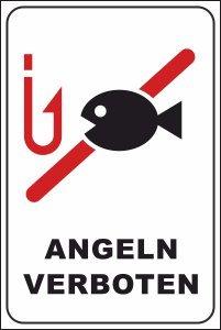 Schwimmer / Angeln Schild -198s- Angeln verboten 29,5cm * 20cm * 2mm, mit 4 Eckenbohrungen (3mm) inkl. 4 Schrauben