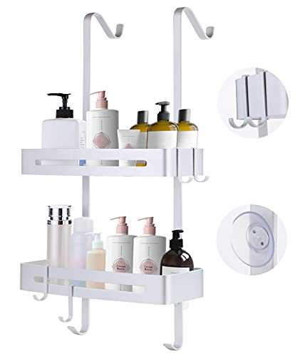 Over the Door Shower Caddy, Hanging Shower Shelves Rust Proof Aluminum Bathroom Tub Storage Rack with Hooks and Baskets for Shampoo Conditioner Towel