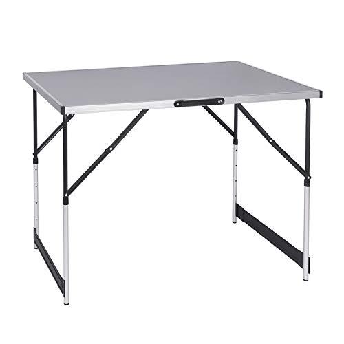 eSituro Campingtisch Alu Klapptisch höhenverstellbar 100x60x73-94cm Falttisch Picknicktisch, Tischplatte aus MDF, Grau