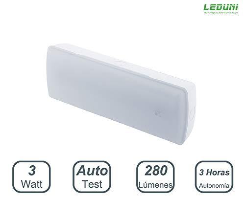 LEDUNI Luz de emergencia Led 280Lm 3W luz frio 6000K Luz fria Con Dos Funciones Empotral y Superficie 3 horas autonomia