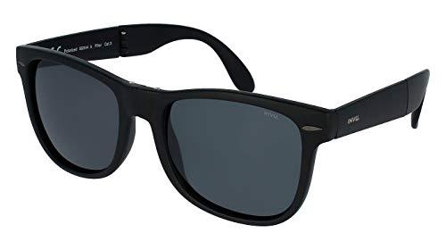 INVU Polaroid - Gafas de sol polarizadas para hombre y mujer, vintage, unisex, retro, B2044A, color negro mate