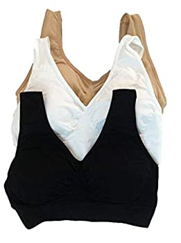 New Upgrade 3pcs/set Sports Store BADI NA Women s Yoga Bra 3 in Set Summer Pack with Removable Pad White & Black & Nude  XXXL