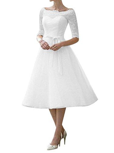 Brautkleid Hochzeitskleider Damen Kurz Spitzenkleid Chiffon A Linie mit Halbarm Weiß EUR38