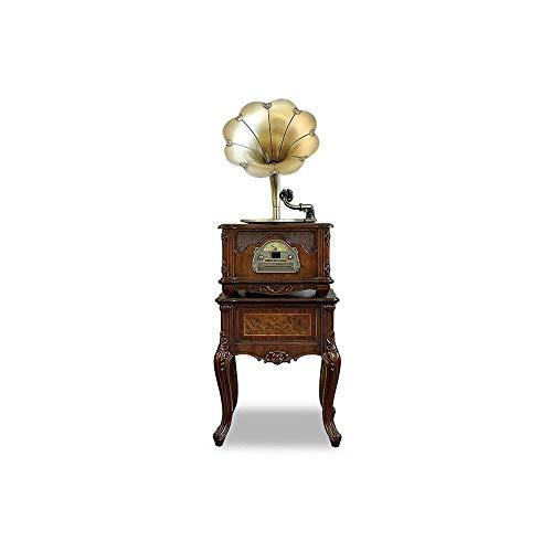 ZSMLB Tocadiscos Retro Alta fidelidad Audio para hogar, Todo en uno, fonógrafo Vintage, gramófono nostálgico bocina Cobre, Altavoz Incorporado, subwoofer, Entrada Auxiliar/USB/Radio FM