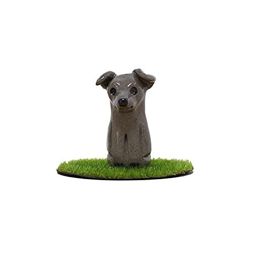ペット分骨入れ ペット骨壷 国産 手作り 信楽焼 専用芝生付き 遺骨入れ かわいい あの子 ペットロス (イタリアングレーハウンド)