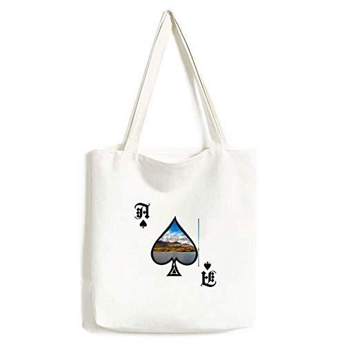 Mountain Crystal Lake Science Natuur Scenery Handtas Craft Poker Spade Wasbare Tas