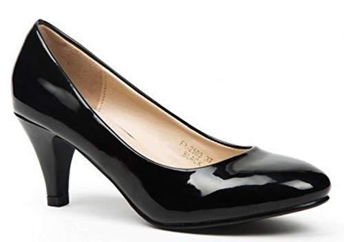 King Of Shoes Damen Klassische Pumps mit Pfennigabsatz Hochzeit (41, Schwarz Glänzend)