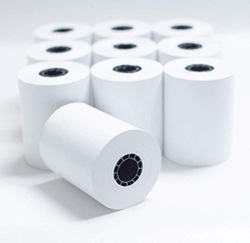 """2 1/4"""" x 85' White Thermal Paper Credit Card & Cash Register Tape - Pack of 10 Rolls"""