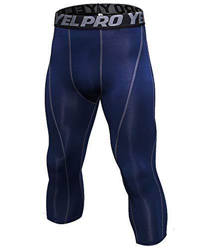Shengwan Pantaloni da Corsa Uomo Sportivi Leggings a Compressione 3/4 Allenamento Palestra Tights Marina Militare S