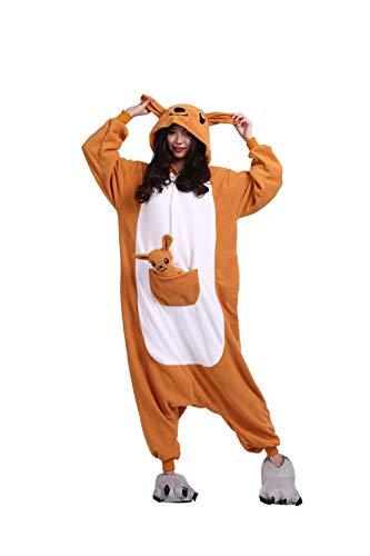 Tiere Onesie Karneval Kostüm Damen Jumpsuit Pyjama Schlafanzug Weihnachten Halloween Overall Nachtwäsche Faschingskostüme Herren Kangaroo