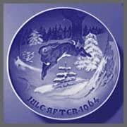 1964 Bing Grondahl Christmas Plate Hare discount Tree Same day shipping Fir -