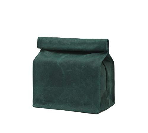 Lunchtasche aus gewachstem Leinen, strapazierfähig, weicher Stoff, faltbar, Klettverschluss (dunkelgrün)