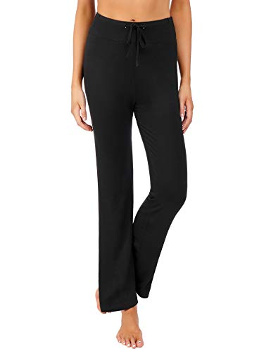 Irevial Damen Hose Jogginghose Flare Yoga Hose Fitness Hose Yogahose Weites Straight Bein mit Tunnelzug