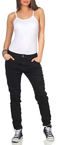 Karostar Damen Jeans Stretch Hose Chino Boyfriend Pants Hüftjeans 62 (48, Schwarz)